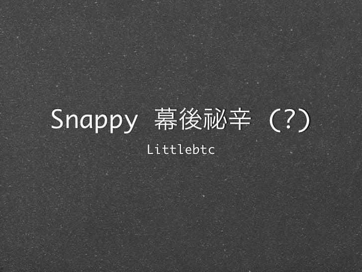 Snappy 幕後祕辛 (?)     Littlebtc