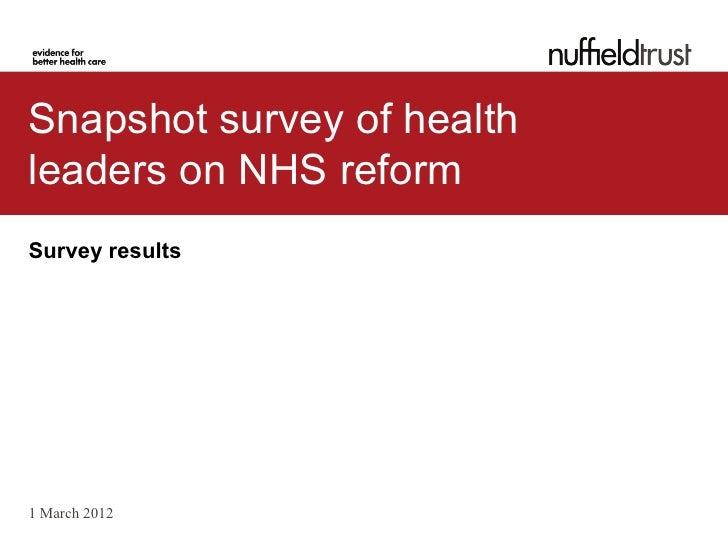 Snapshot survey of health leaders on NHS reforms
