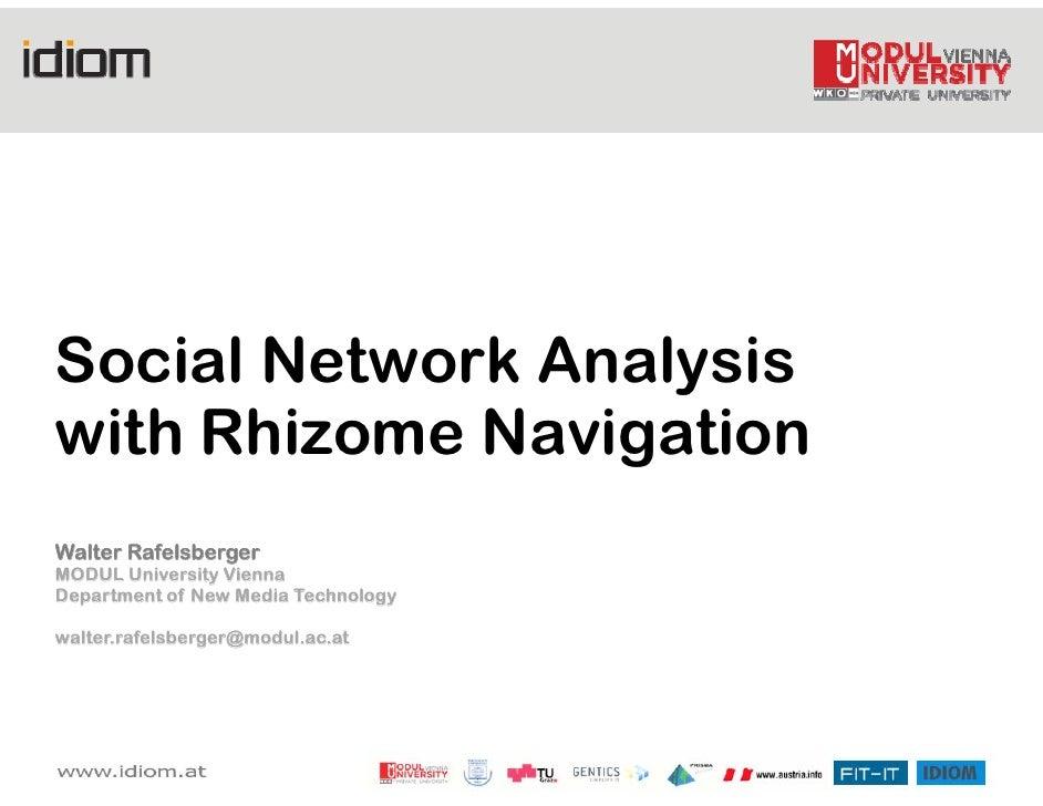 Social Network Analysis with Rhizome Navigation