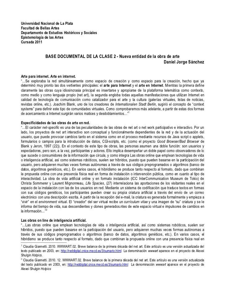 Universidad Nacional de La PlataFacultad de Bellas ArtesDepartamento de Estudios Históricos y SocialesEpistemología de las...