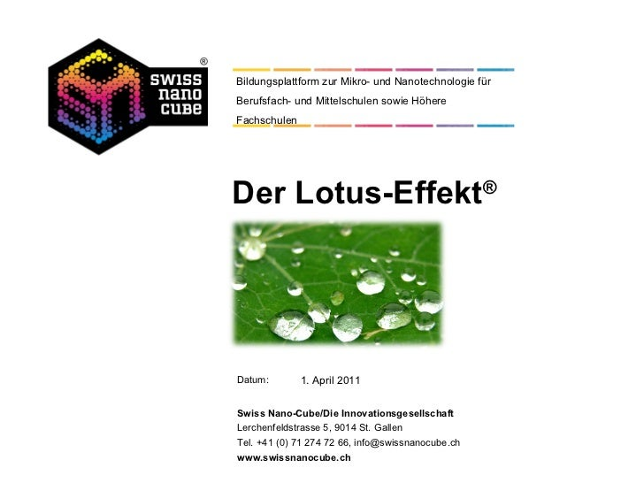 Der Lotus-Effekt ® 1. April 2011