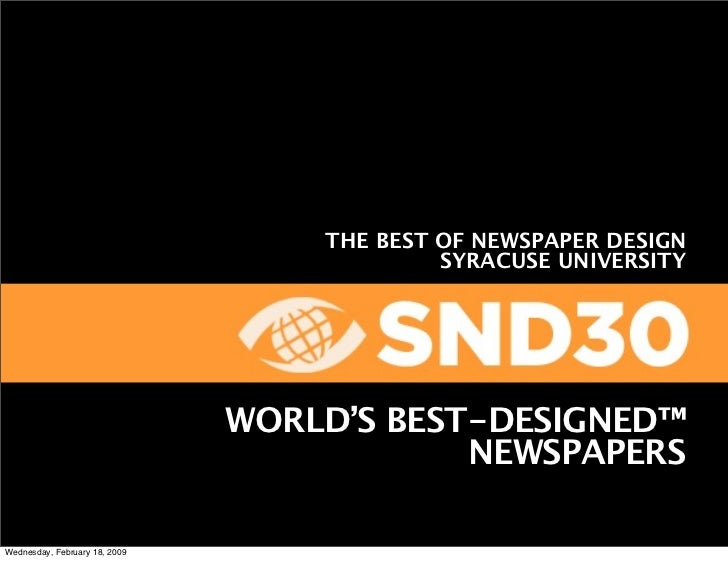 THE BEST OF NEWSPAPER DESIGN                                             SYRACUSE UNIVERSITY                              ...