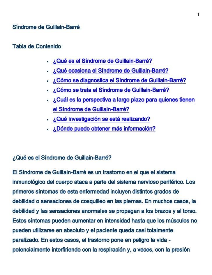 1Síndrome de Guillain-BarréTabla de Contenido                ¿Qué es el Síndrome de Guillain-Barré?                ¿Qué oc...