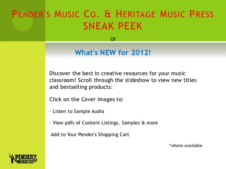 Sneak Peek 2012 | Elementary Classroom Sheet Music & Resources