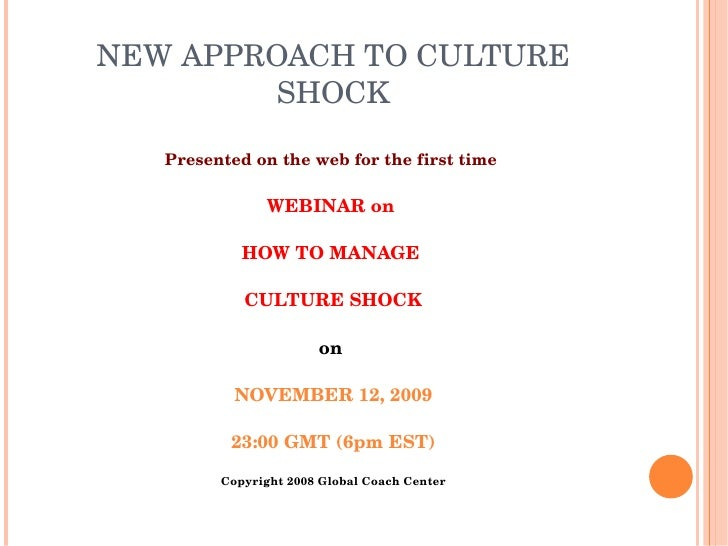 WEBINAR on How to Manage Culture Shock