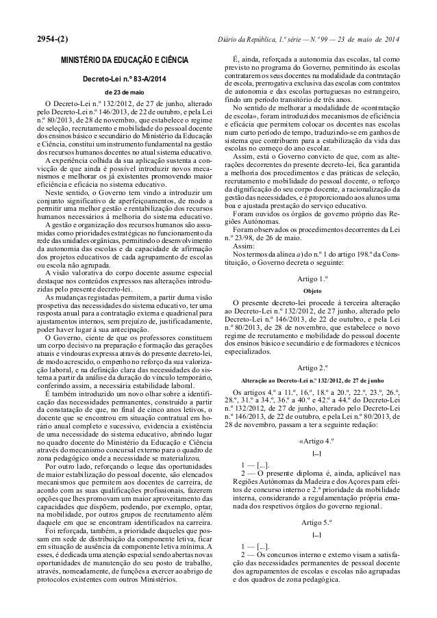 2954-(2) Diário da República, 1.ª série — N.º 99 — 23 de maio de 2014 MINISTÉRIO DA EDUCAÇÃO E CIÊNCIA Decreto-Lei n.º 83-...