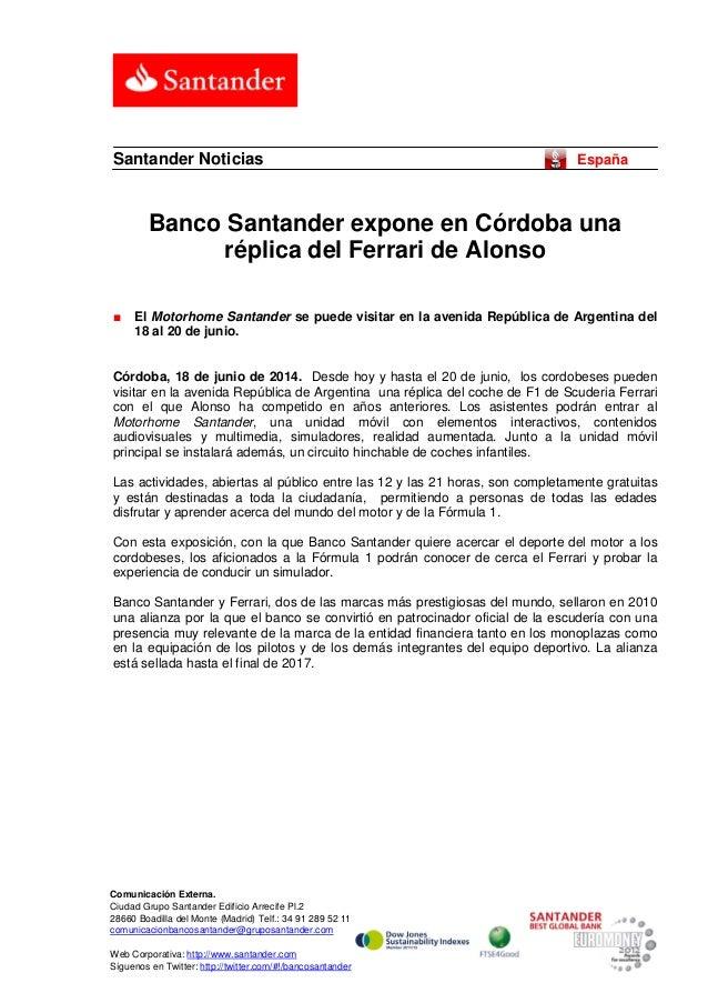 Banco Santander expone en Córdoba una réplica del Ferrari de Alonso