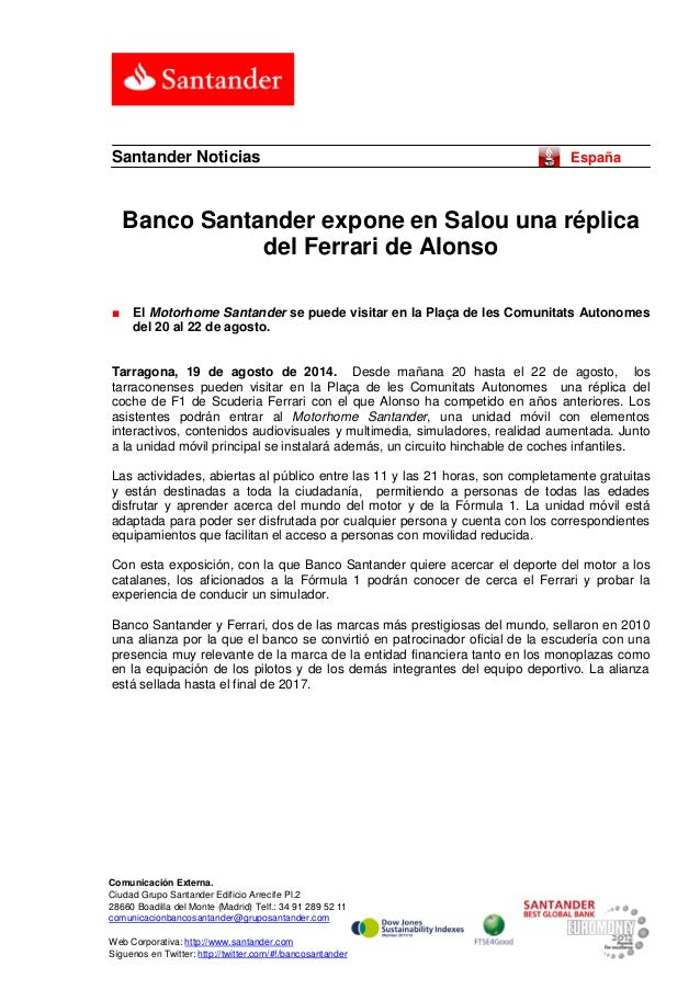 Banco Santander expone en Salou una réplica del Ferrari de Alonso