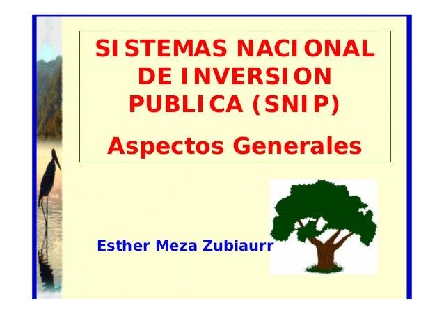 SISTEMAS NACIONAL DE INVERSION PUBLICA (SNIP) Aspectos Generales Éste es el subtítulo  Esther Meza Zubiaurr