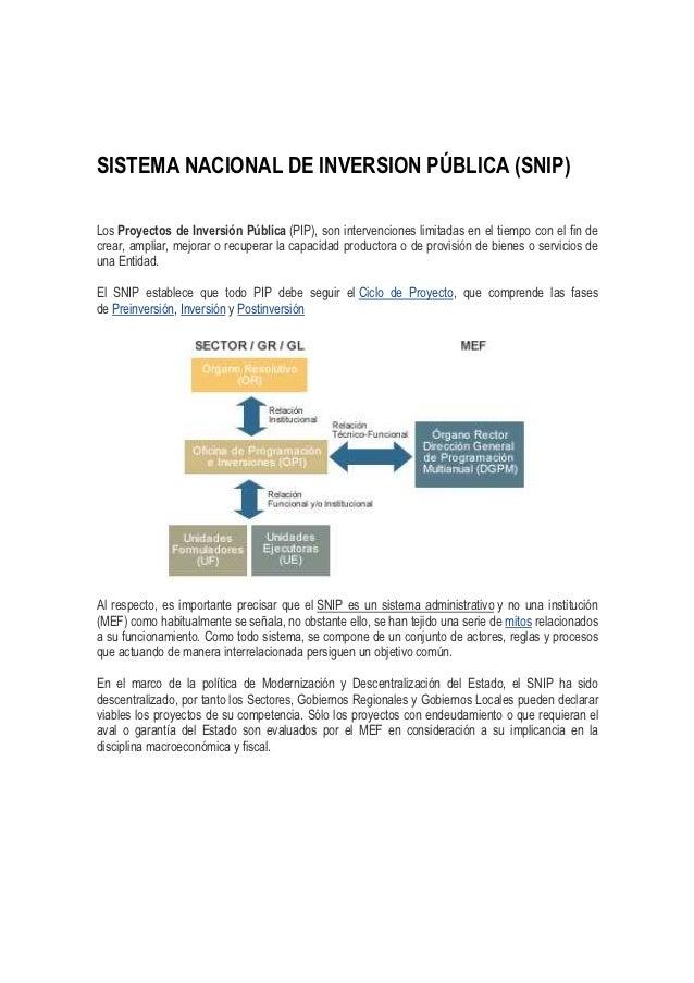 SISTEMA NACIONAL DE INVERSION PÚBLICA (SNIP)Los Proyectos de Inversión Pública (PIP), son intervenciones limitadas en el t...