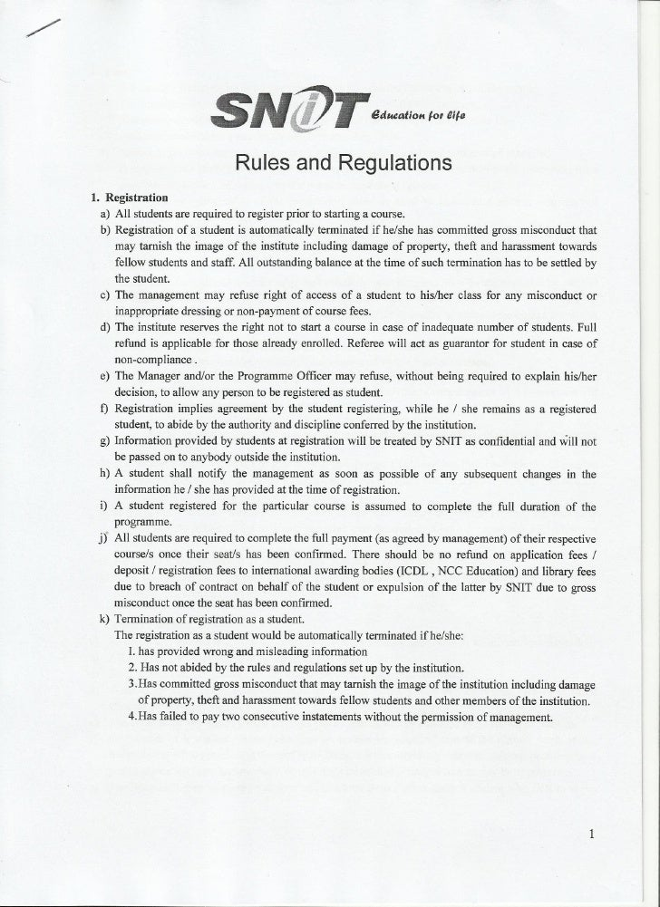 Snit rules and regulations