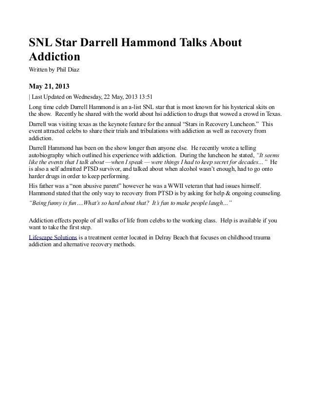 Snl star darrell hammond talks about addiction