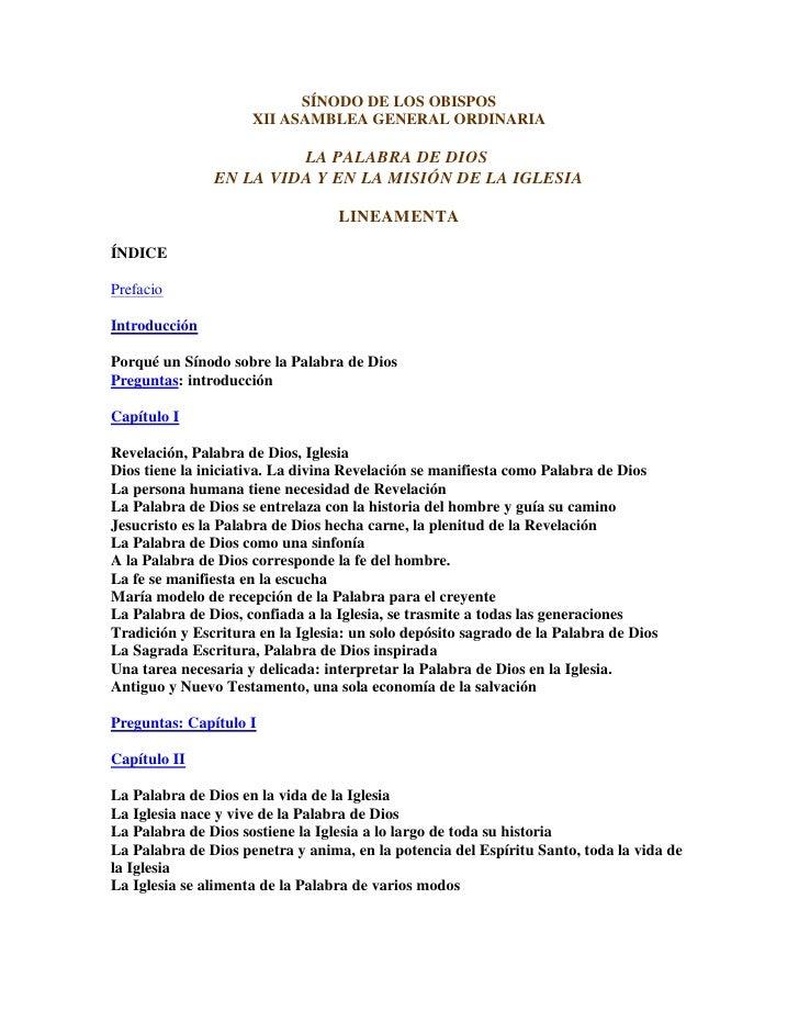 SÍNODO DE LOS OBISPOS                      XII ASAMBLEA GENERAL ORDINARIA                          LA PALABRA DE DIOS     ...