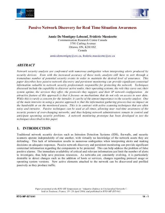 Passive Network Discovery for Real Time Situation Awareness Annie De Montigny-Leboeuf, Frédéric Massicotte Communication R...