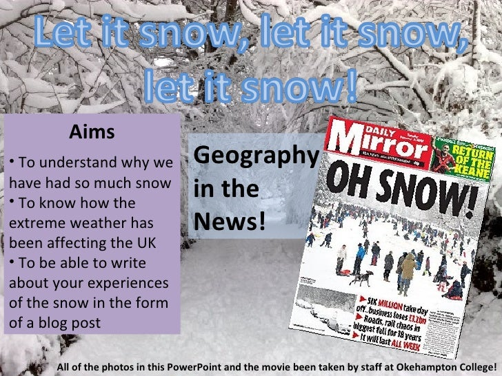 Let it Snow! Geography in the News lesson