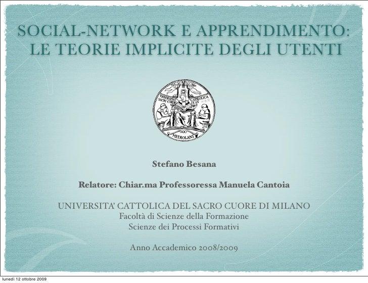 SOCIAL-NETWORK E APPRENDIMENTO:         LE TEORIE IMPLICITE DEGLI UTENTI                                                 S...