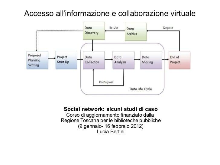 <ul>Accesso all'informazione e collaborazione virtuale </ul><ul><li>Social network: alcuni studi di caso