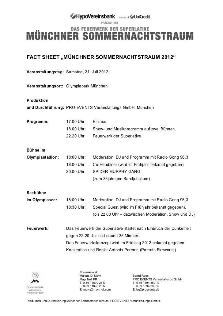 """FACT SHEET """"MÜNCHNER SOMMERNACHTSTRAUM 2012""""Veranstaltungstag: Samstag, 21. Juli 2012Veranstaltungsort: Olympiapark Münche..."""