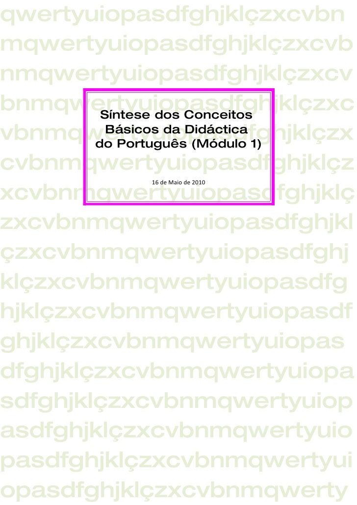 Síntese dos conceitos básicos da didáctica do português cátia e inês