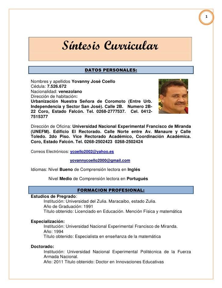 1               Síntesis Curricular                           DATOS PERSONALES:Nombres y apellidos Yovanny José CoelloCédu...