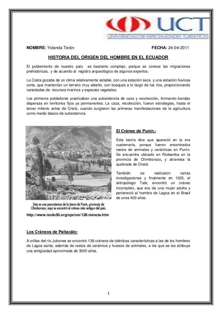 Síntesis del origen del hombre en el ecuador