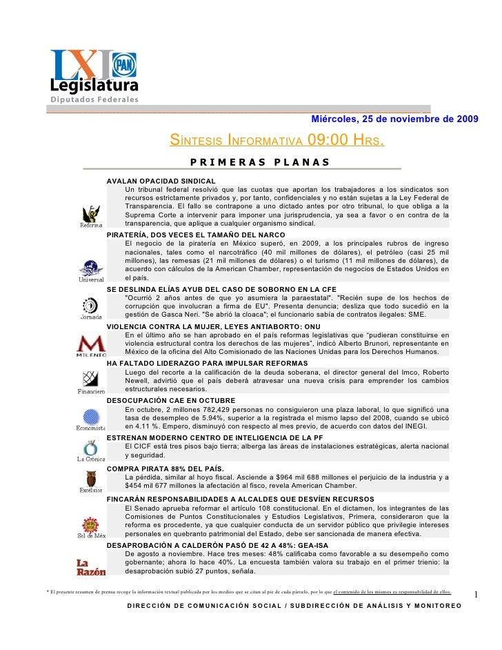 SíNtesis Informativa (25 11 2009)