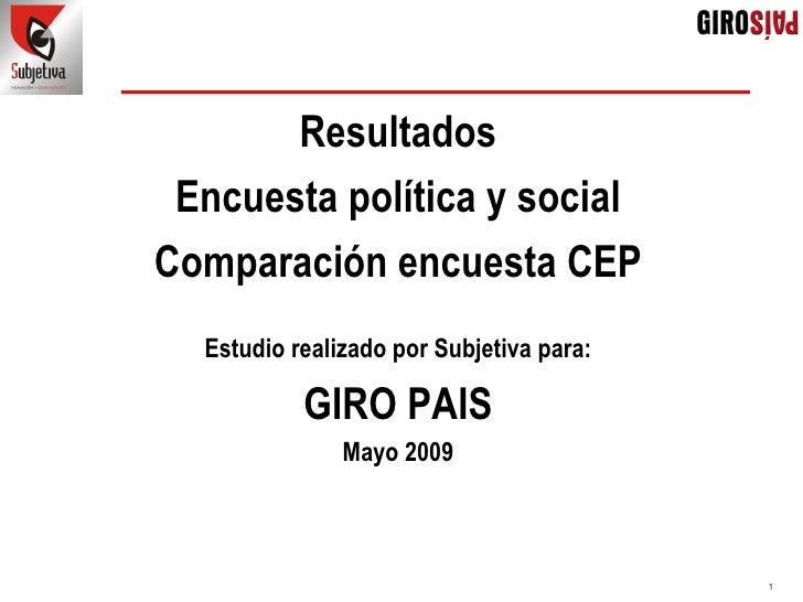Síntesis Presentación Gp Mayo 2009 (Comparación Cep Junio 2009)