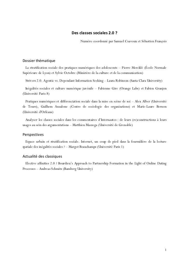 Des classes sociales 2.0 ?                                         Numéro coordonné par Samuel Coavoux et Sébastien Franço...