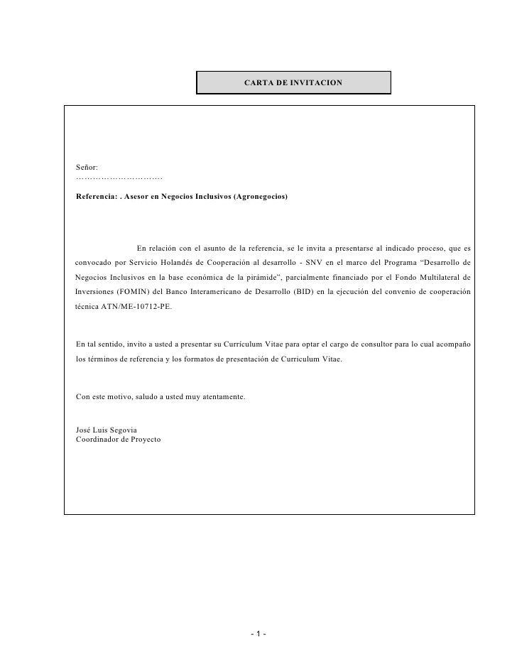 CARTA DE INVITACION     Señor: ………………………….  Referencia: . Asesor en Negocios Inclusivos (Agronegocios)                    ...