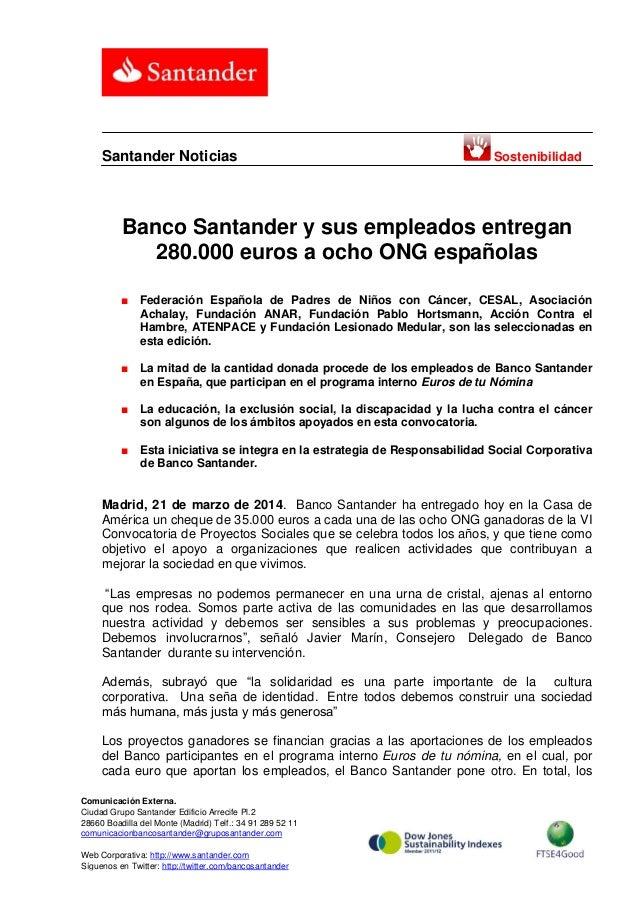 Banco Santander y sus empleados entregan 280.000 euros a ocho ONG españolas