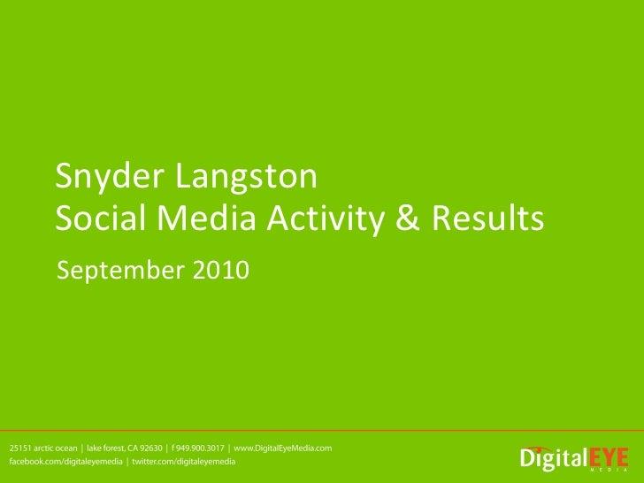 Snyder LangstonSocial Media Activity & ResultsSeptember 2010
