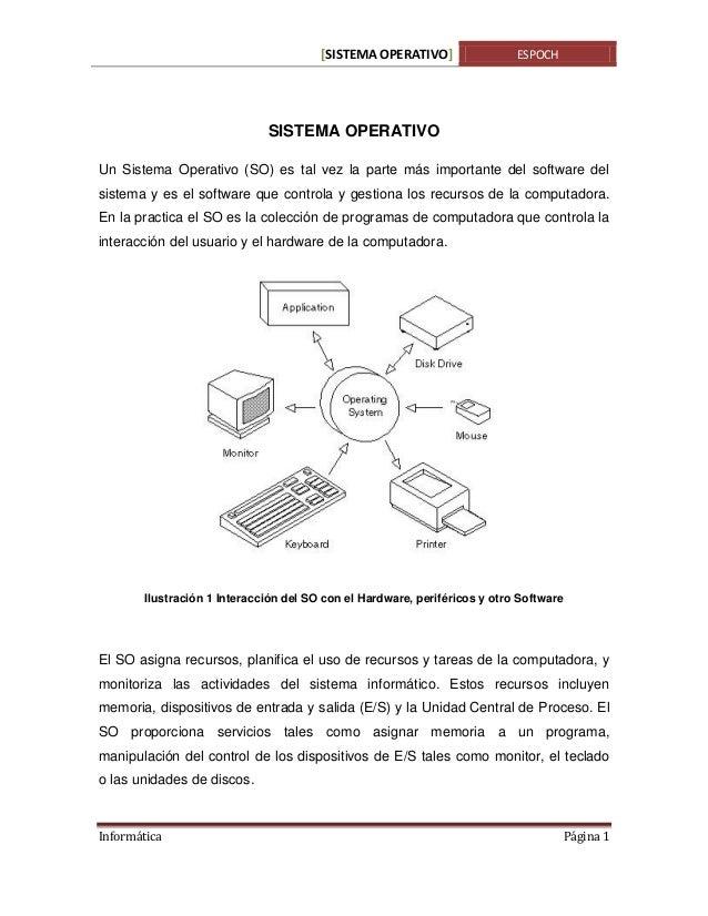 [SISTEMA OPERATIVO]  ESPOCH  SISTEMA OPERATIVO Un Sistema Operativo (SO) es tal vez la parte más importante del software d...