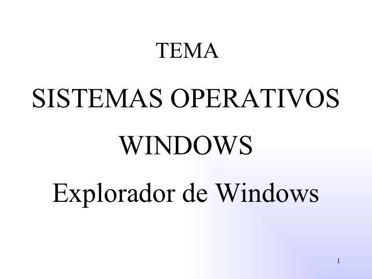TEMA SISTEMAS OPERATIVOS WINDOWS Explorador de Windows