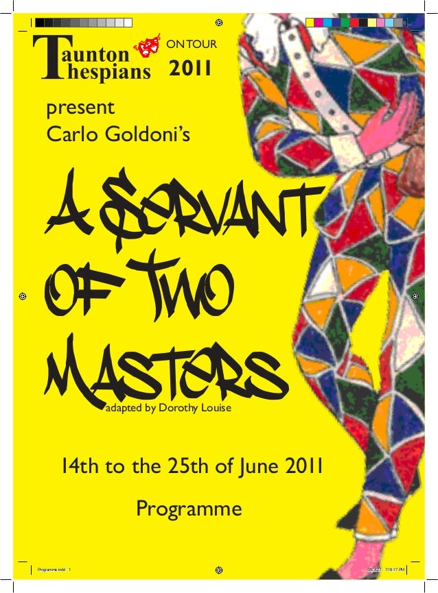 Programme for Taunton Thespians' production of A Servant of Two Masters