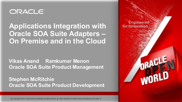 Applications Integration withOracle SOA Suite Adapters –On Premise and in the CloudVikas Anand Ramkumar MenonOracle SOA Su...