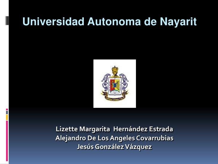 Universidad Autonoma de Nayarit<br />Lizette Margarita  HernándezEstrada<br />Alejandro De Los Angeles Covarrubias<br />Je...