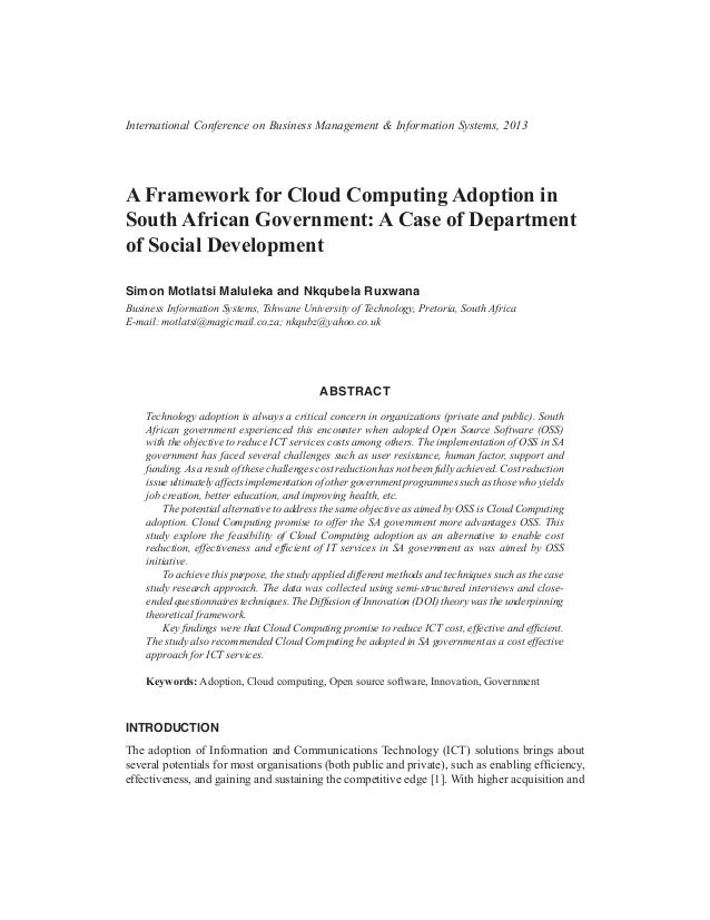 A Framework for Cloud Computing Adoption in South African Government