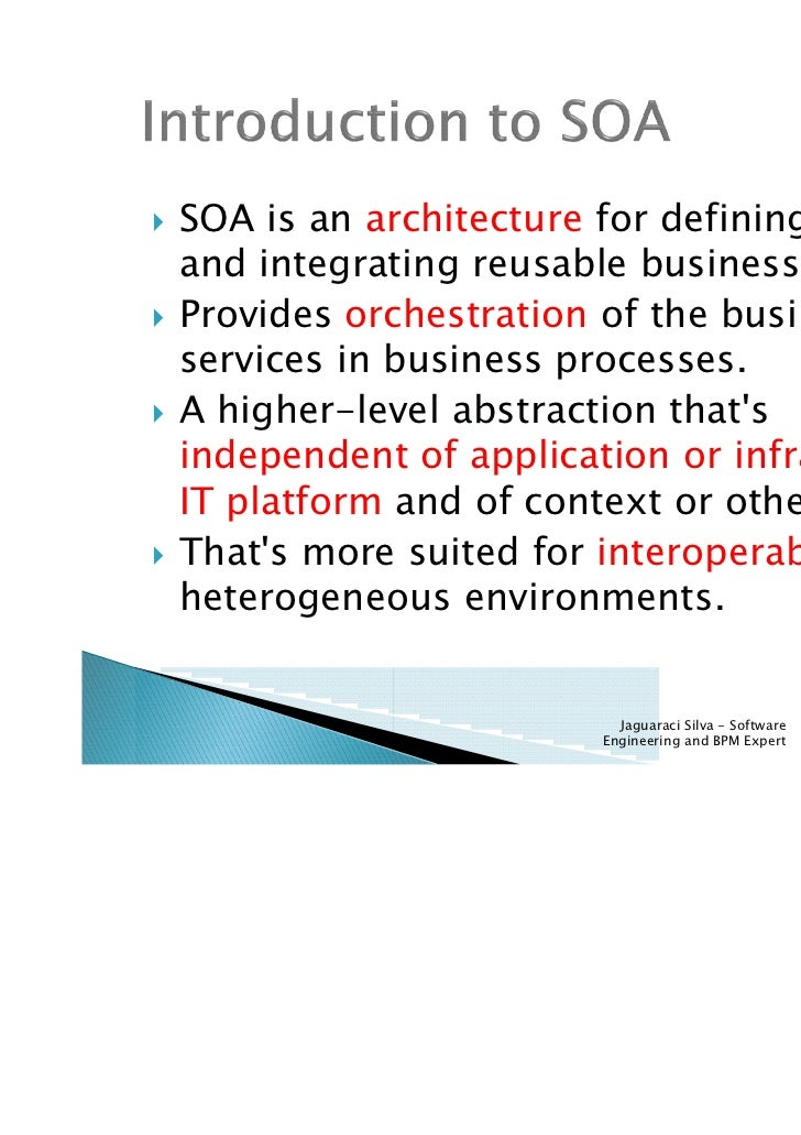 SOA is an architecture for Fundamentals Of Architecture And Services