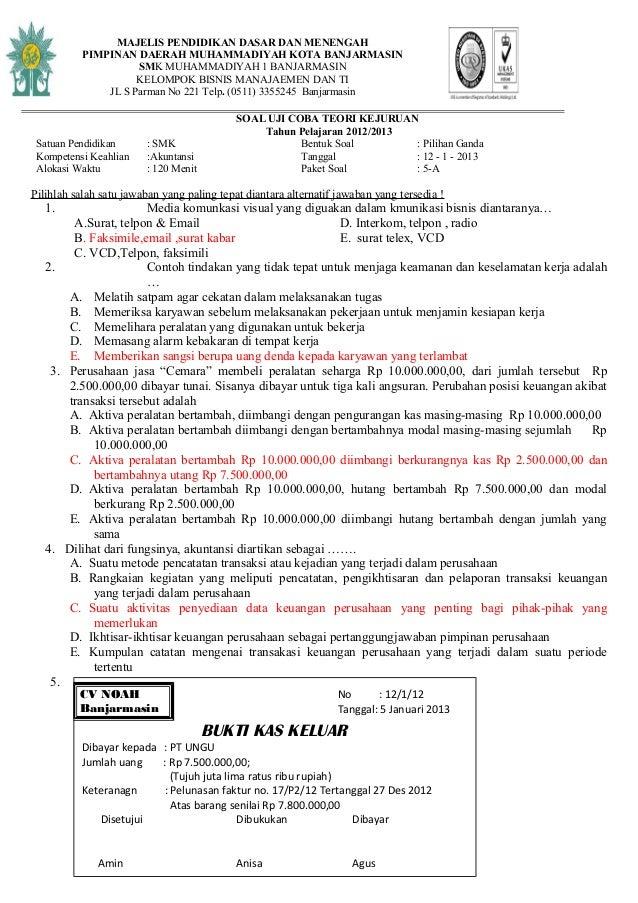 Soal Try Out Akuntansi Smk Tahun 2013