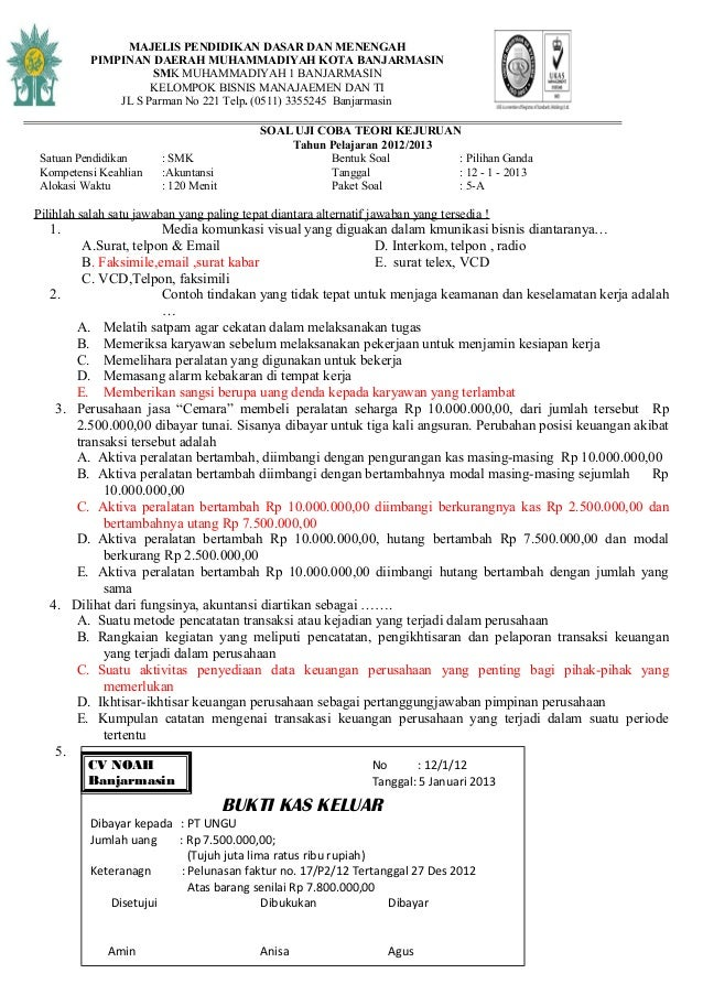 Soal Latihan Pengantar Akuntansi 1 Soal Latihan Teori Akuntansi Ujian Tahun Try Out Smk