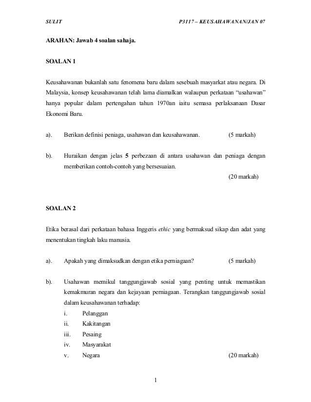 SULIT                                                P3117 – KEUSAHAWANAN/JAN 07ARAHAN: Jawab 4 soalan sahaja.SOALAN 1Keus...