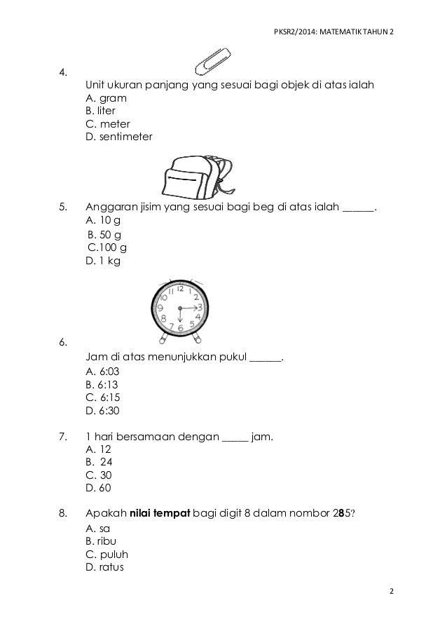 Soalan Matematik Tahun 4 Ukuran Panjang Selangor D