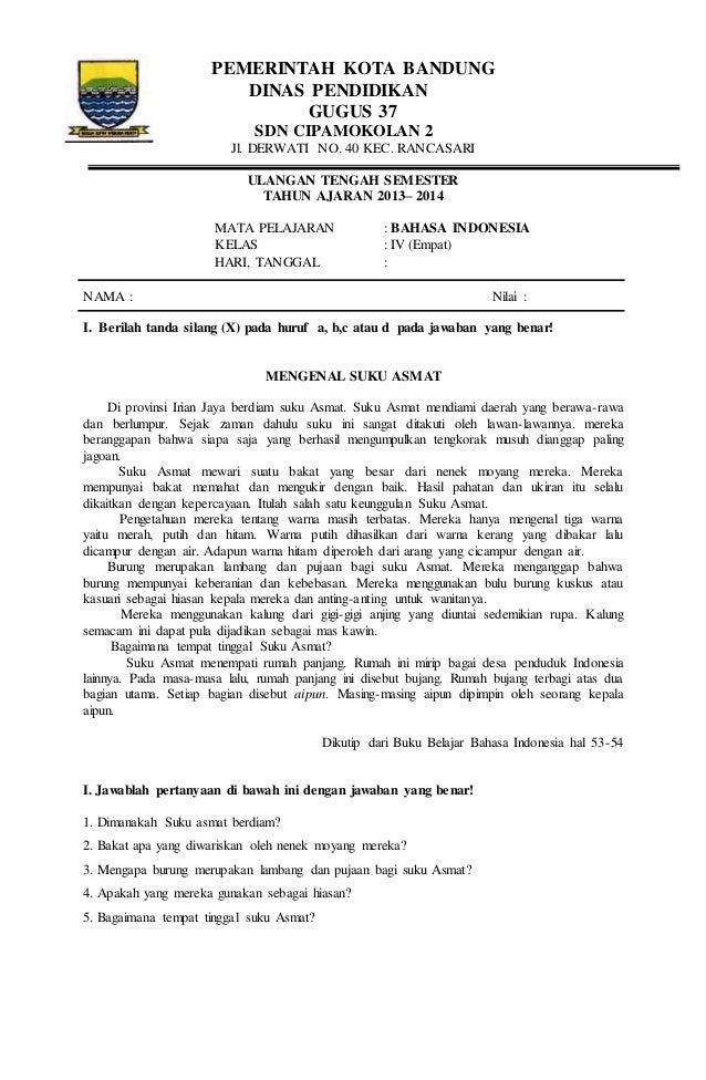 Soal Bahasa Indonesia Kelas 4