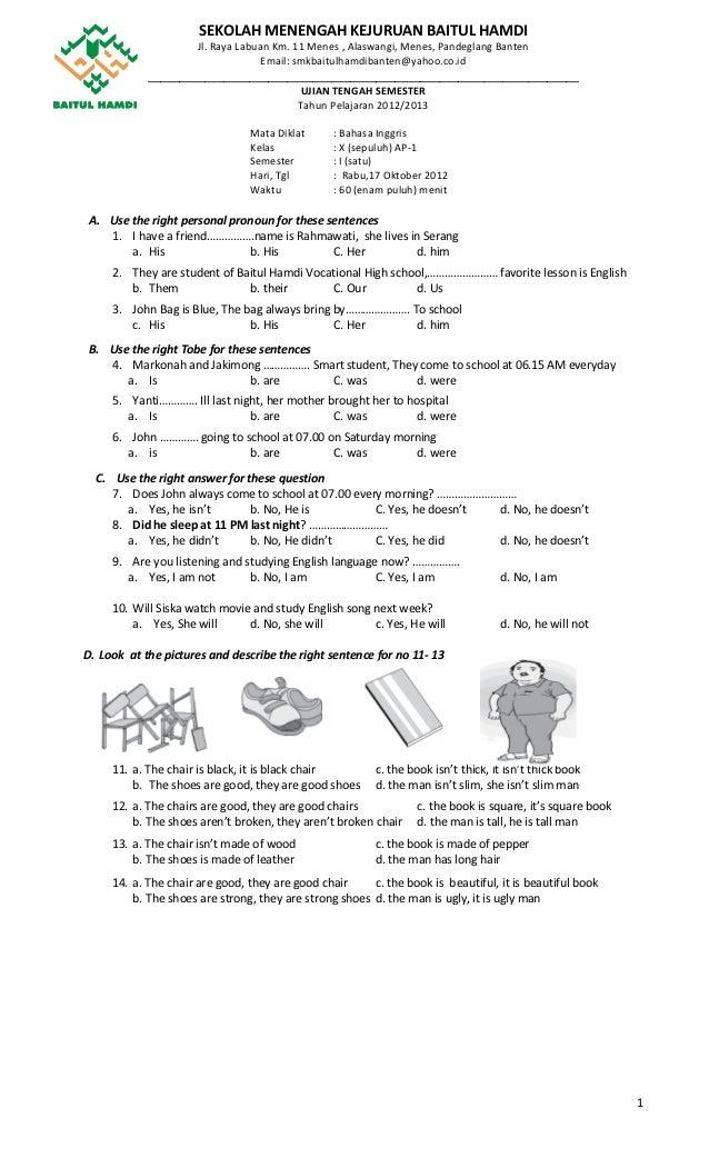 Contoh Soal Bhs Inggris Smk Kelas X Soal Bahasa Inggris Uts Smk Baitul Hamdi Ap 1 Ganjil Revisi