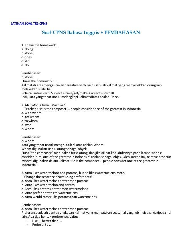2016 Latihan Menghadapi Soal Cpns Newhairstylesformen2014 Com