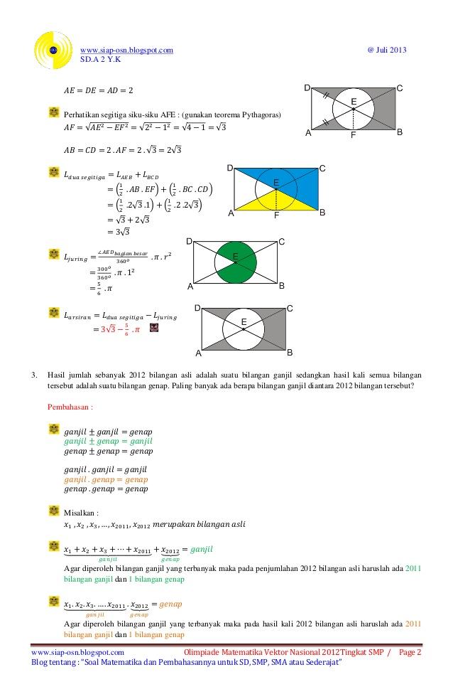 Soal Dan Pembahasan Olimpiade Matematika Vektor Nasional