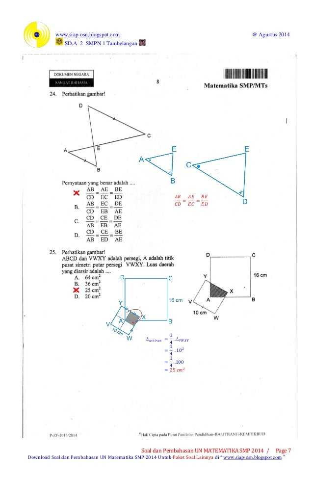 Soal Dan Pembahasan Un Matematika Smp 2014 Paket 1 Soal Dan Pembahasan Un Matematika Smp 2014