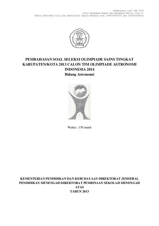 Soal dan solusi osk astronomi 2013 by m bagus