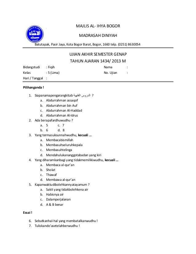 Soal Fiqih Q 5 Madrasah