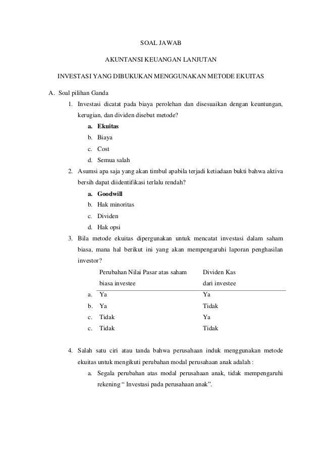 Soal Jawab Akuntansi Lanjutan 2